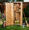 small wooden shed for gardening tools diy storage space small wooden shelves installed inside