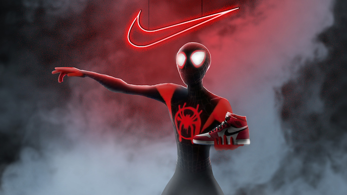 spider man into the spider verse cool nike wallpapers holding an air jordan sneaker red neon nike logo above him