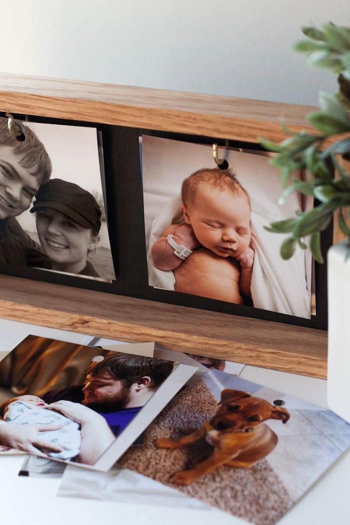 step by step diy tutorial for photo frame with interchangeable photos valentine gift for husband wooden frame