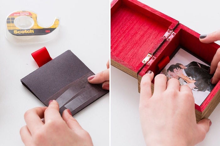 step by step diy tutorial for pop up photo box valentine's day gift ideas for him placing the pictures inside