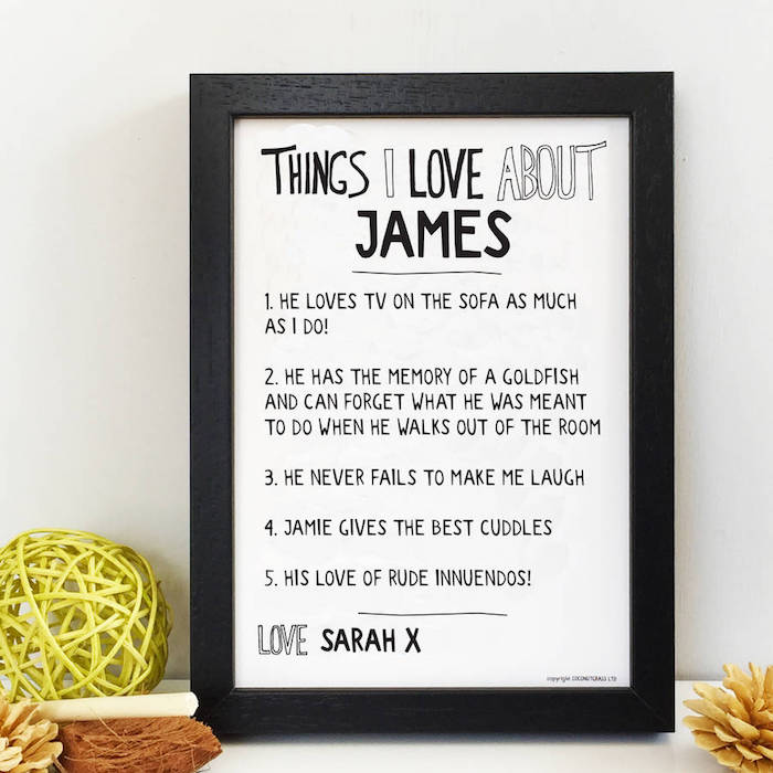 things i love about james poster valentines day ideas for him list written with black marker on white background inside black frame