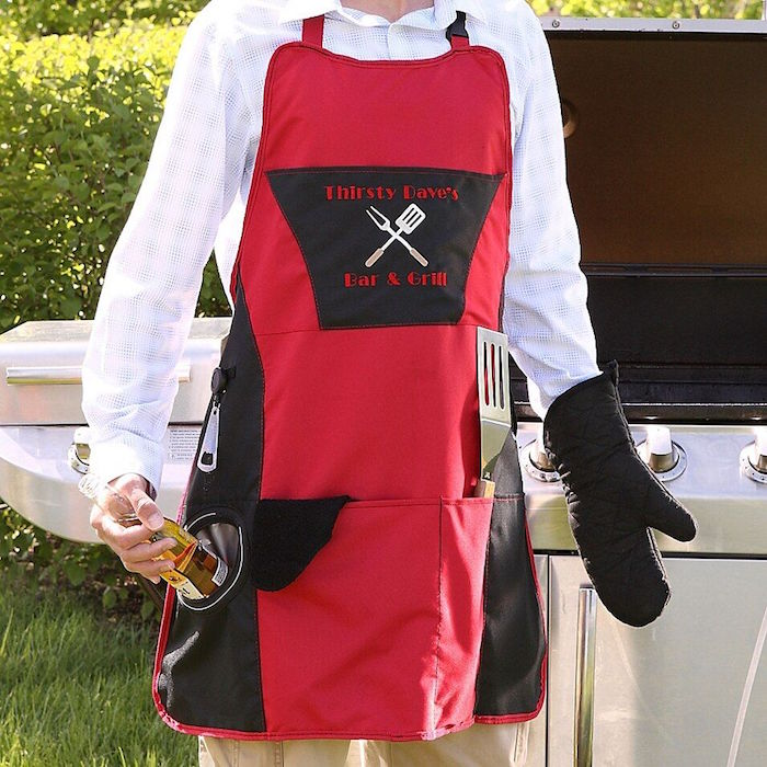 thirsty daves bar and grill valentines gifts for him personalised grill apron with pockets for grilling tools and bottles