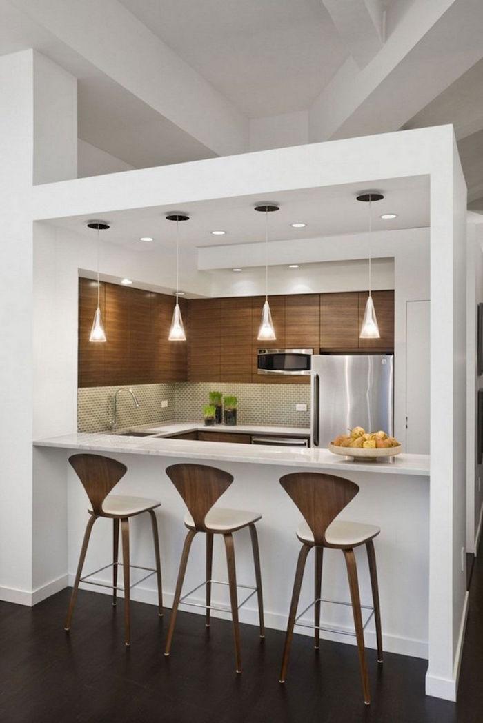 three wooden bar stools wooden cabinets white countertop kitchen decor ideas mosaic backsplash