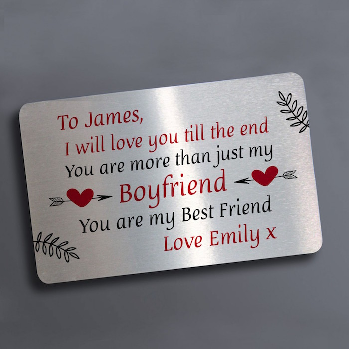 to james personalised message engraved in black and red on metal plaque valentines day ideas for him