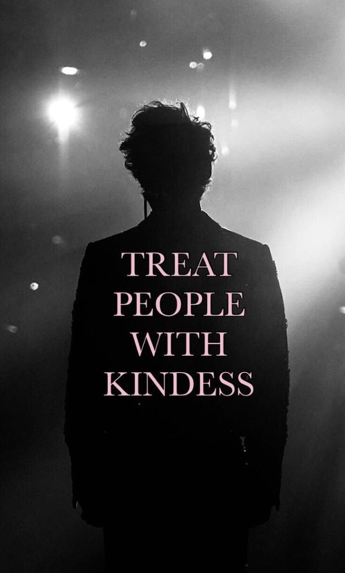 treat people with kindness written in white harry styles laptop wallpaper black and white photo of harry on stage