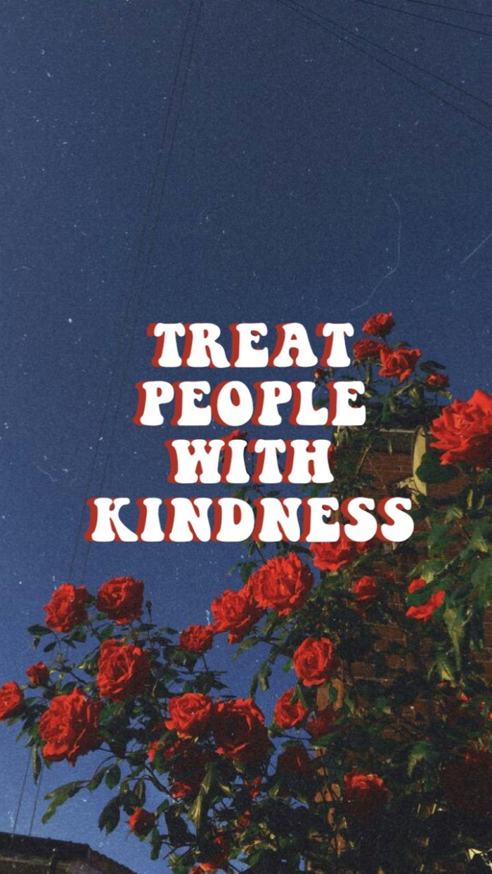 treat people with kindness written in white over a photo of a rose bush and blue sky harry styles background