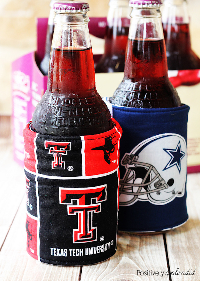 two beer bottles wrapped with beverage holders first valentine gift for boyfriend step by step diy tutorial
