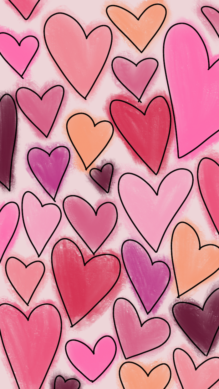 valentine's day 2021 drawings of hearts with black outlines colored in different shades of pink and purple on white background