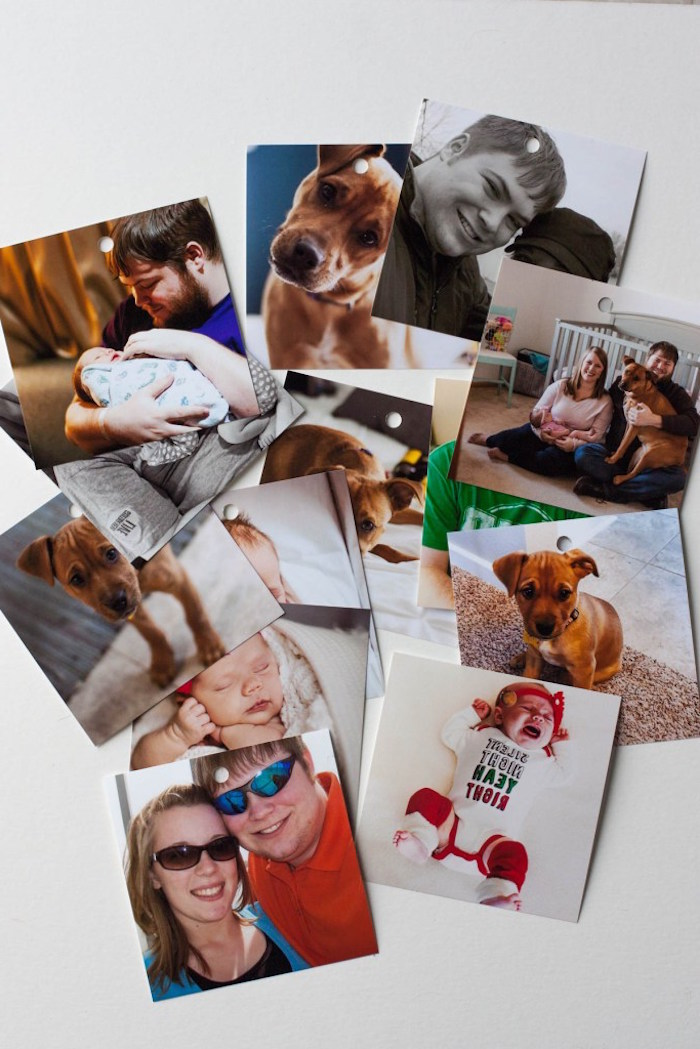 valentine's day gift ideas for him lots of photos spread on white surface valentine's day gift ideas for him couple with baby and dog