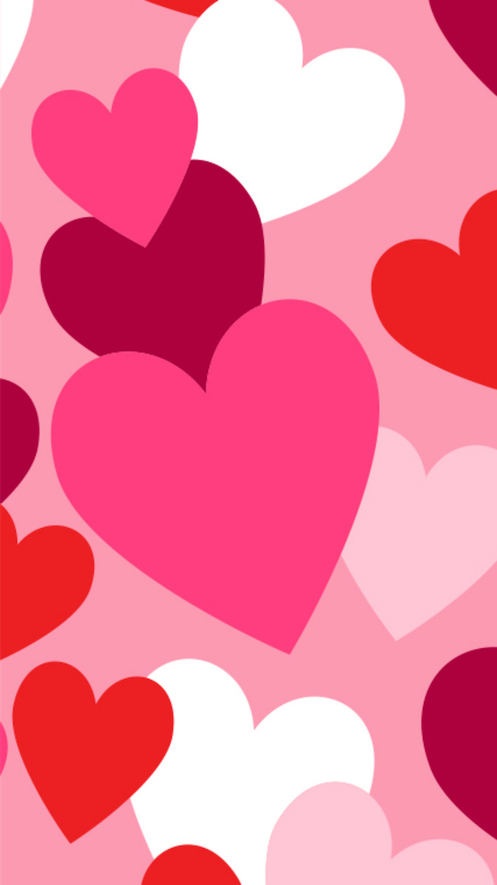 valentine's day origin lots of hearts in different shades of red and pink white drawn on pink background
