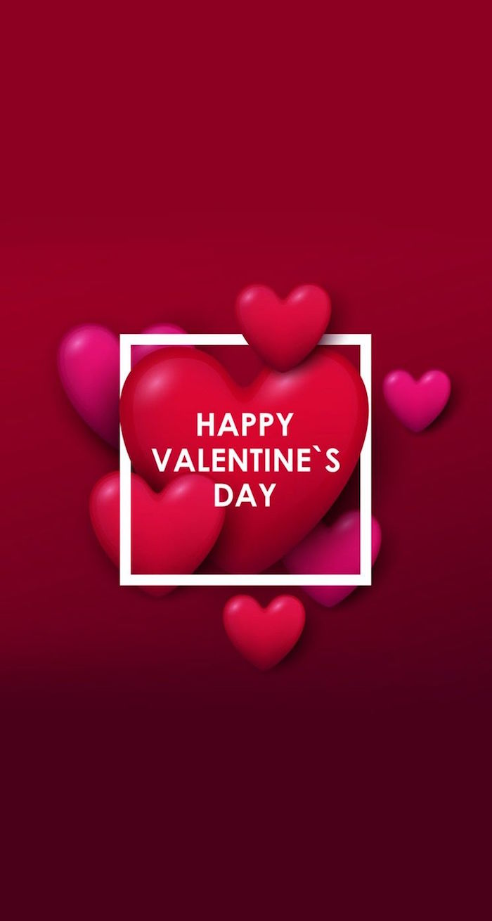 valentines day wallpaper red and pink ombre background with red and pink hearts happy valentine's day written in white
