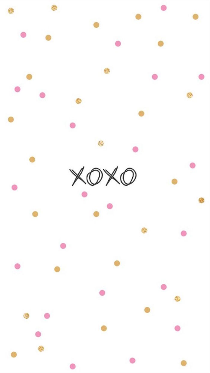 valentines wallpaper white background with pink and gold dots xoxo written in black in the middle
