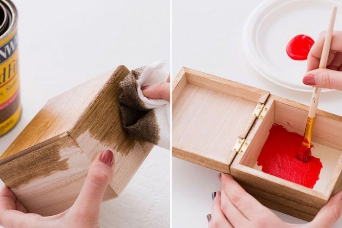 what to get your boyfriend for valentines day wooden box stained on the outside painted in red on the outside