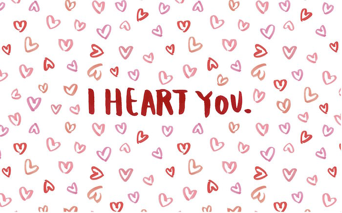 white background when is valentines day lots of hearts drawn on it in red and pink i heart you written in red in the middle