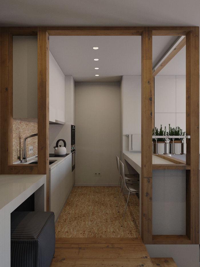 white kitchen cabinets beige mosaic backsplash wooden arch kitchen decor ideas white chairs