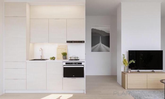 white kitchen cabinets white backsplash and countertops small kitchen design wooden floor open plan kitchen living room