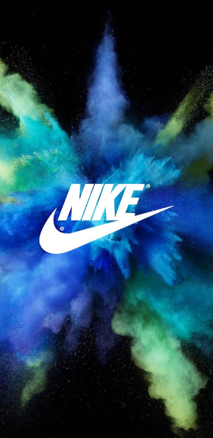white nike logo in the middle black nike wallpaper digital drawing of blue green and turquoise smoke in the background