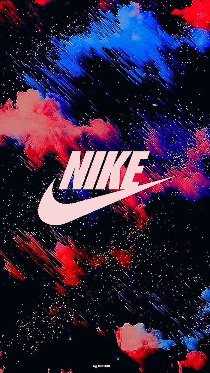 white nike logo in the middle just do it wallpaper background in black red and blue