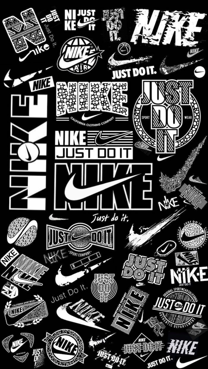 white nike logos from different eras just do it written in white black nike wallpaper black background