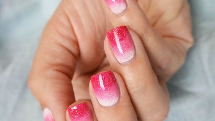 white pink red glitter ombre valentines day nail art medium length square nails white background
