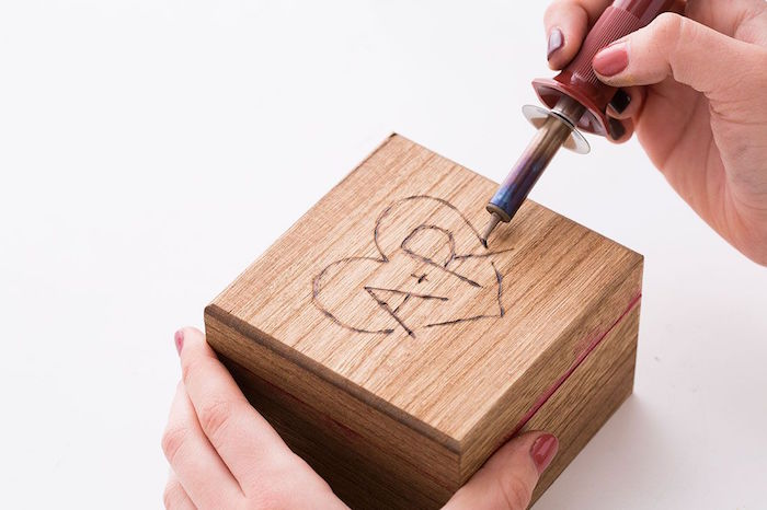 wooden box valentine's day gift ideas for him a plus r with heart outline engraved on top of it
