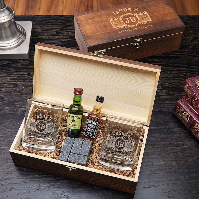wooden box valentines day gifts for boyfriend whiskey glasses stones inside two mini whiskey bottles inside