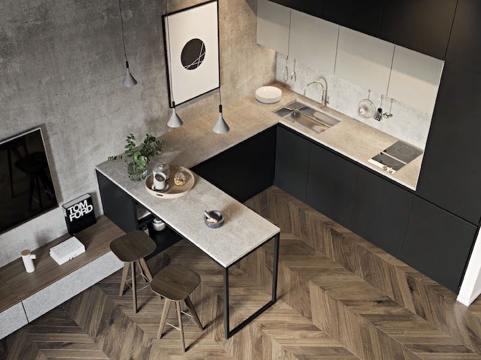 wooden floor in small kitchen with black cabinets granite countertops kitchen cabinet ideas wooden bar stools