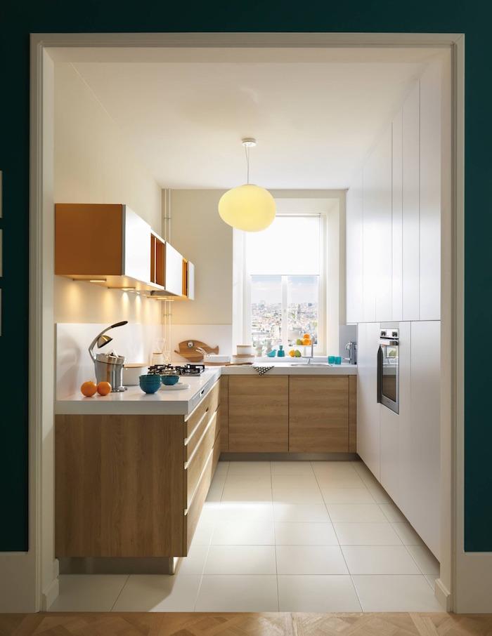 wooden orange and white kitchen cabinets white tiles floor kitchen decor ideas white tiled backsplash