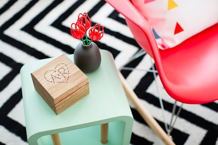 wooden pop up photo box placed on turquoise side table what to get your boyfriend for valentines day step by step diy tutorial