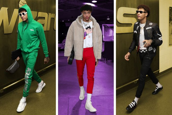 kelly oubre jr wearing three different outfits streetwear aesthetic side by side photos
