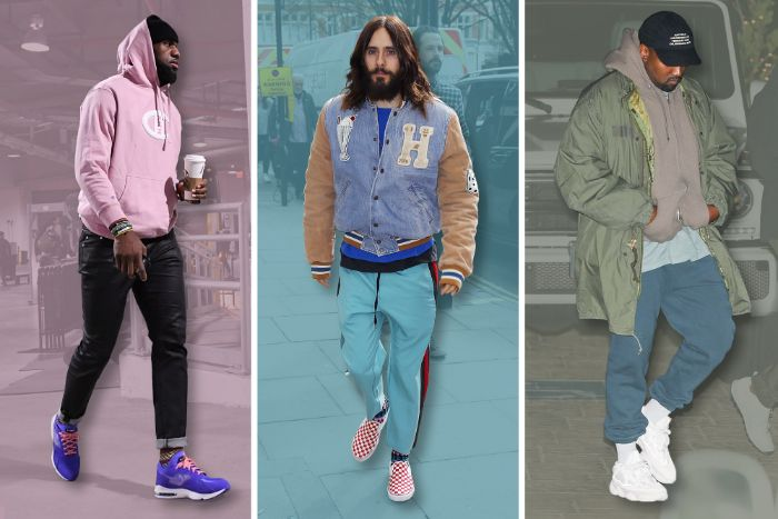 lebron james jared leto kanye west three side by side photos streetwear outfits different outfits