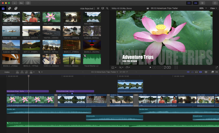 best video editing software screenshot of video being edited with final cut pro on macbook