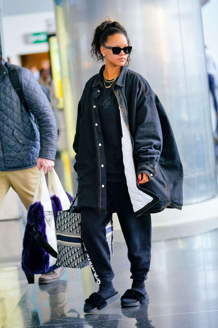 black denim oversized jacket black t shirt joggers hip hop clothing rihanna airport style