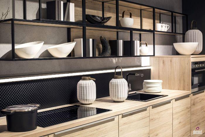 black metallic frames wood shelves floating kitchen cabinets black backdrop wooden cabinets