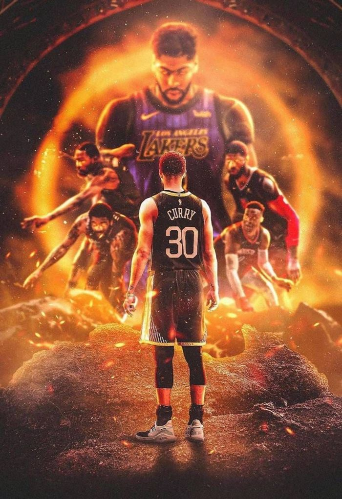 black warriors uniform stephen curry golden state warriors wallpaper steph standing in front of anthony davis kevin durant kyrie irving paul george russell westbrook