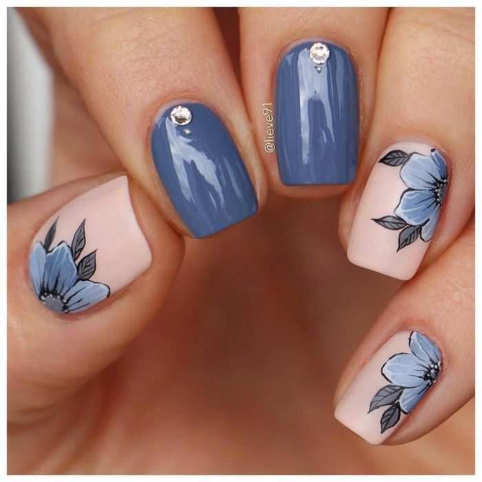 blue and nude nail polish nail designs 2021 decorations with blue flowers and rhinestones