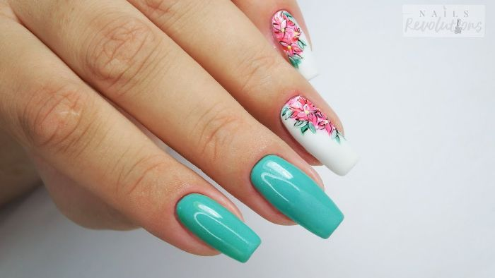 blue and white nail polish on long square nails nail designs for short nails pink flowers decorations