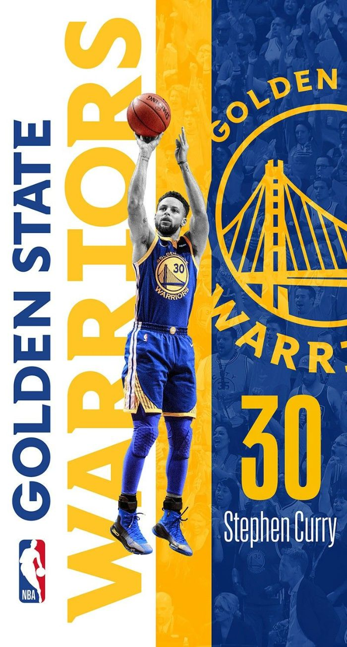 blue and yellow background with golden state warriors logo stephen curry nba wallpaper photo of steph shooting the ball