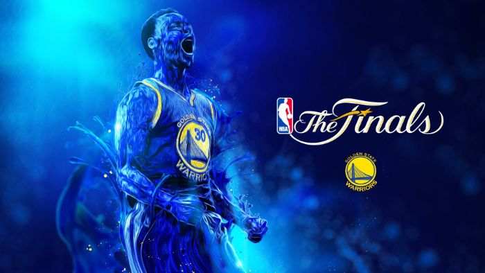 blue background stephen curry background the finals written next to editted photo of steph