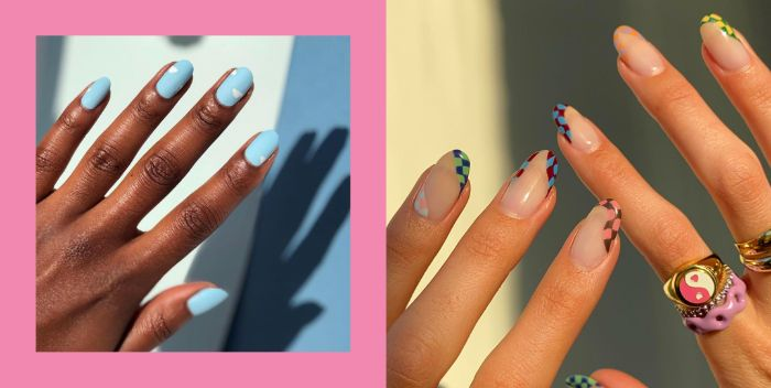 blue matte nail polish clouds decorations spring nail colors 2021 negative french manicure