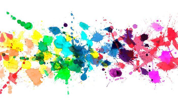 blue orange yellow pink purple green watercolor splashes on white background boho rainbow wallpaper
