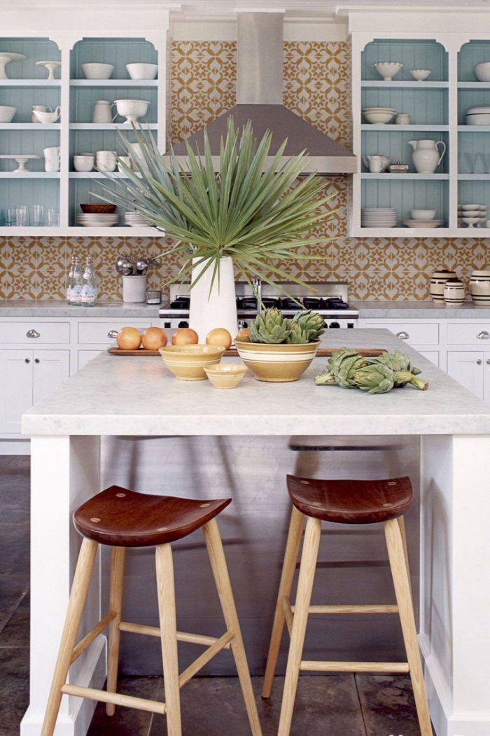 blue shiplap backdrop on kitchen shelf ideas orange and white tiled backdrops white cabinets kitchen island