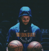 blue warriors hoodie warn by stephen curry basketball pictures wallpaper holding two basketballs