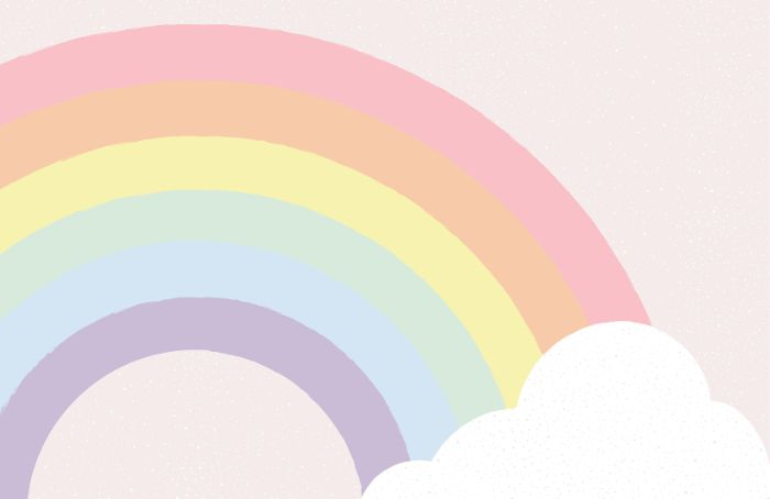 boho rainbow wallpaper digital drawing of rainbow ending in a cloud on white background