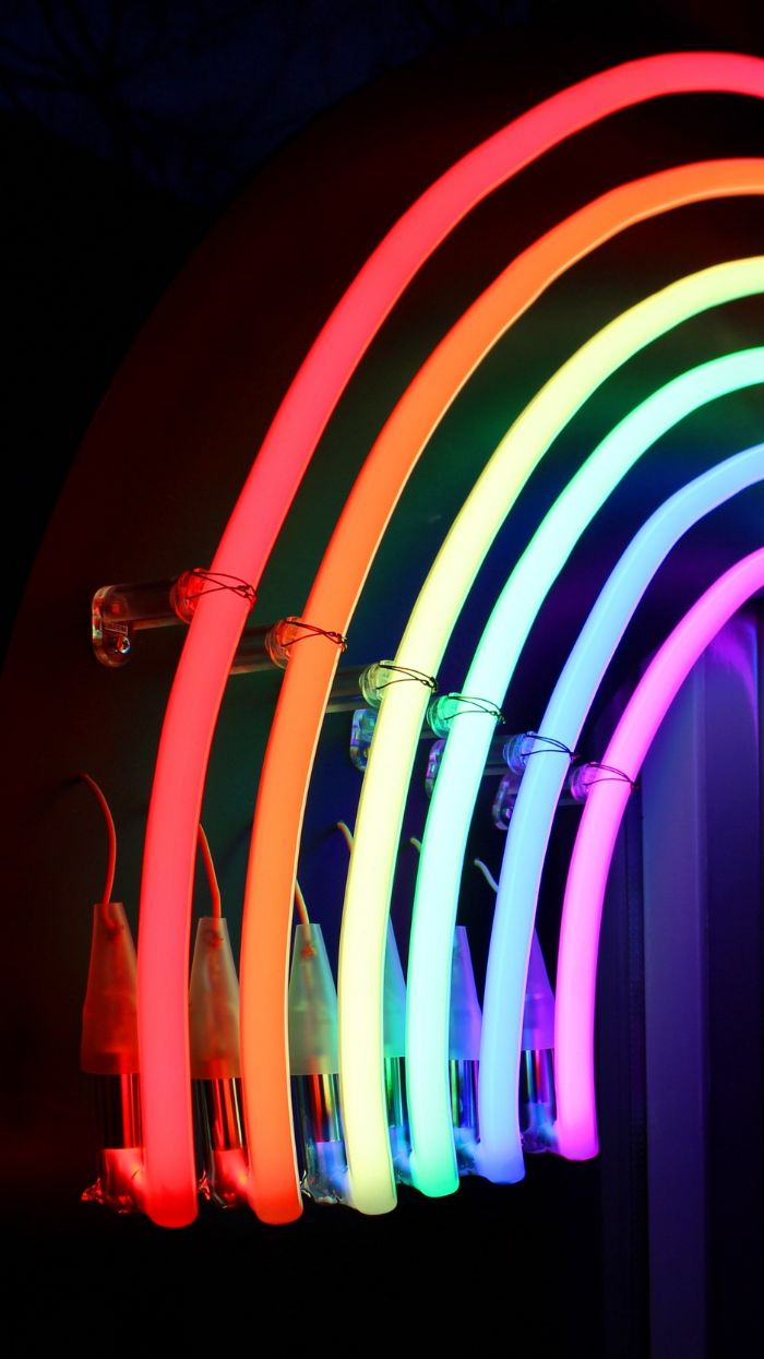 bright neon lamp in the shape of a rainbow cool rainbow wallpapers glowing in red orange yellow green blue and purple
