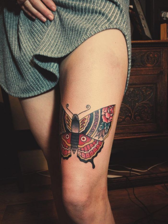 butterfly tattoos on shoulder large colored thigh tattoo of butterfly with rose