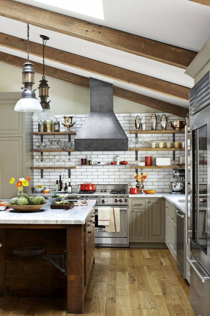 ceiling with exposed wood beams floating shelves kitchen ideas white subway tiles backdrop light gray cabinets