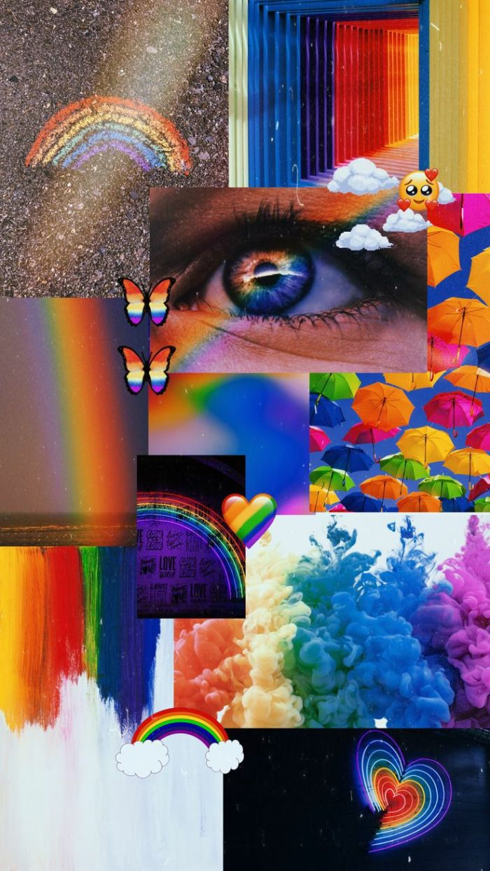 collage of different pictures with rainbow aesthetic cool rainbow backgrounds eye umbrellas butterflies