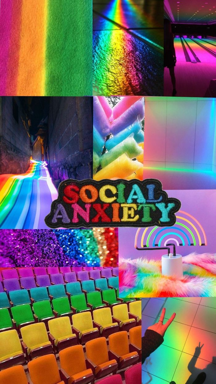 colorful photo collage with colorful photos cute colorful wallpaper social anxiety patch in the middle
