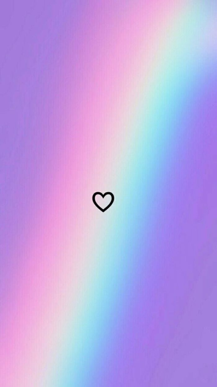 cool rainbow wallpapers small black outline of a heart in the middle rainbow in the background